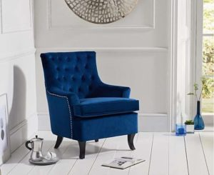 classic blue accent chair